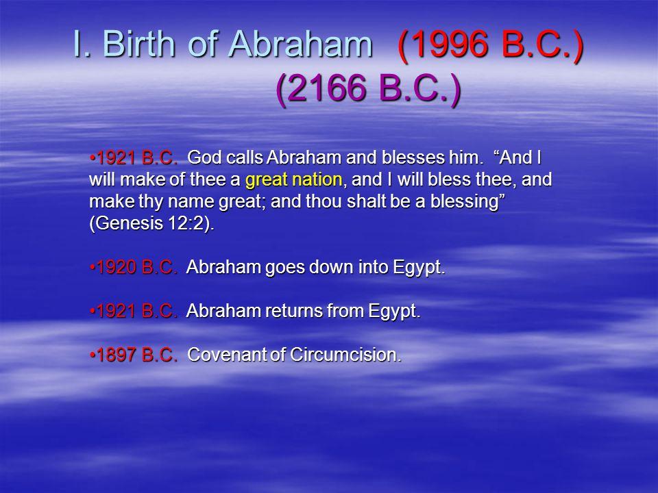 I. Birth of Abraham (1996 B.C.) (2166 B.C.) 1921 B.C.