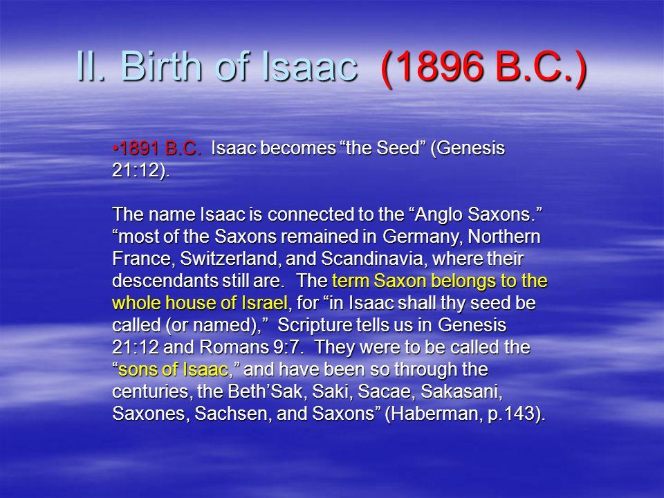 II. Birth of Isaac (1896 B.C.) 1891 B.C. Isaac becomes the Seed (Genesis 21:12).1891 B.C.