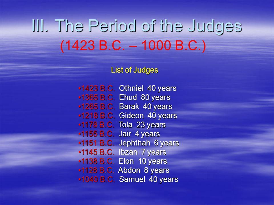 III. The Period of the Judges (1423 B.C. – 1000 B.C.) List of Judges 1423 B.C.
