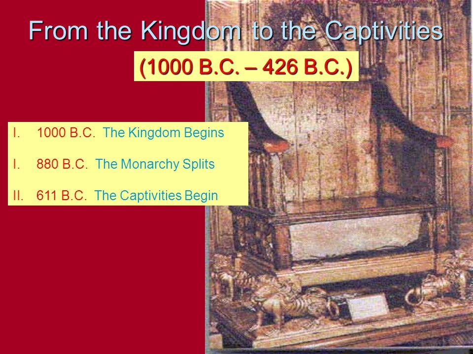 From the Kingdom to the Captivities (1000 B.C. – 426 B.C.) I.1000 B.C.
