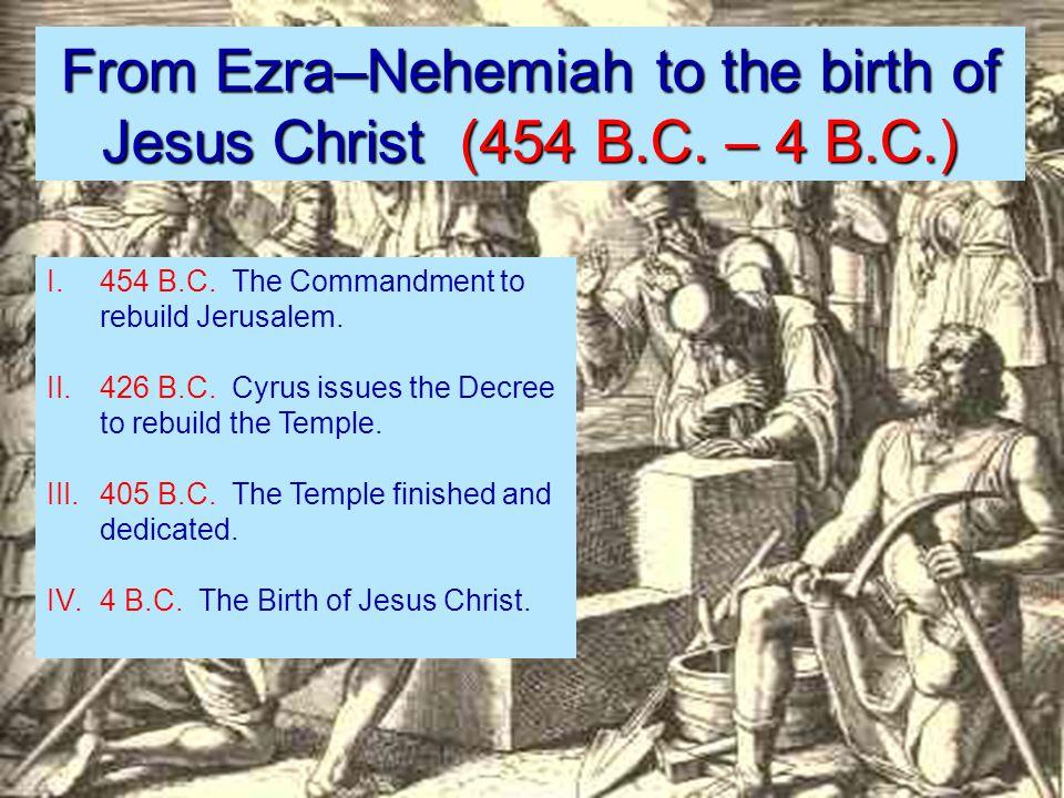 From Ezra–Nehemiah to the birth of Jesus Christ (454 B.C.