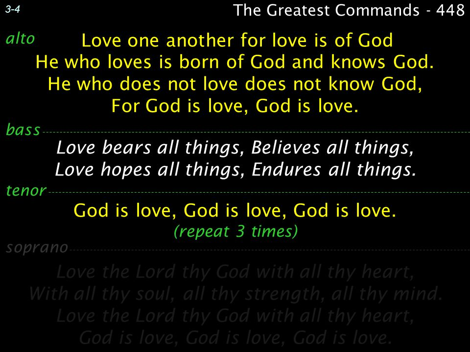 Love one another for love is of God He who loves is born of God and knows God. He who does not love does not know God, For God is love, God is love. L