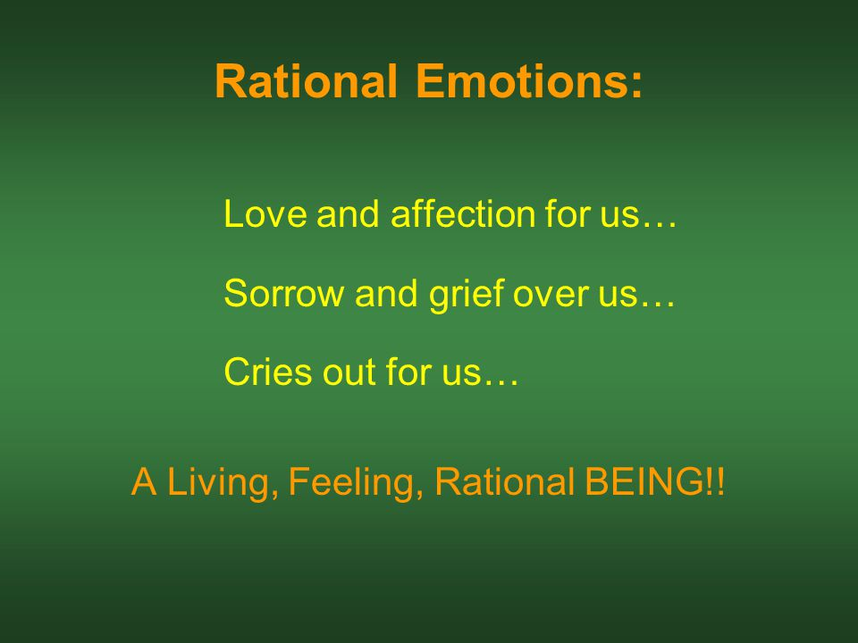 Rational Emotions: Love and affection for us… Sorrow and grief over us… Cries out for us… A Living, Feeling, Rational BEING!!