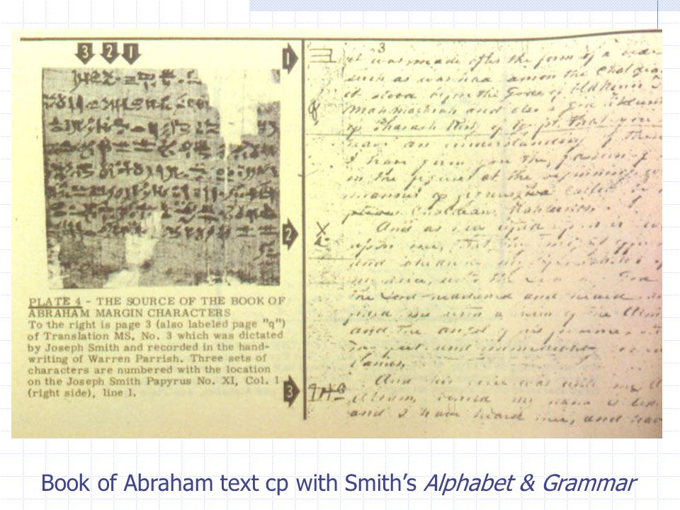 Book of Abraham text cp with Smith's Alphabet & Grammar