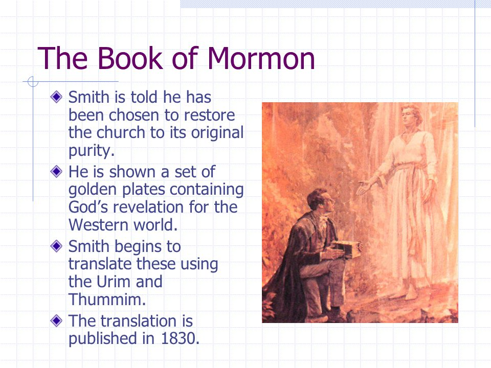 Contents of Book of Mormon 600 BC - Lehi is told by God to leave Jerusalem before it is destroyed.