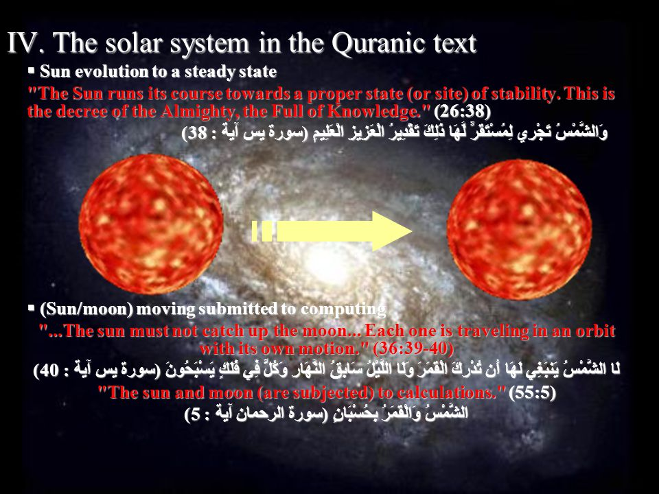 IV. The solar system in the Quranic text i.