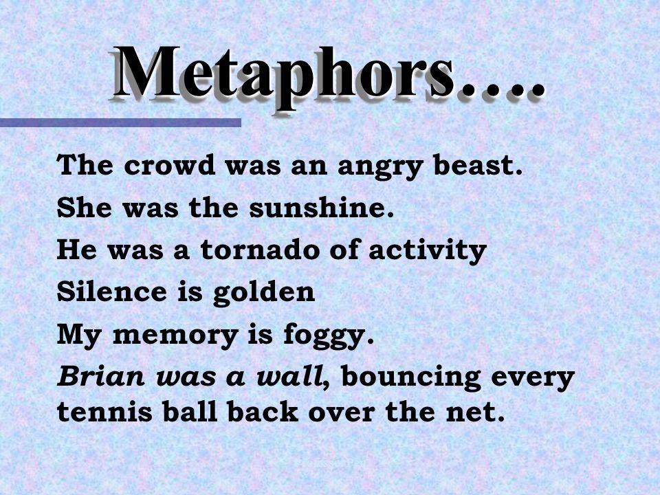 Professor Pen Metaphors….Metaphors…. The crowd was an angry beast.