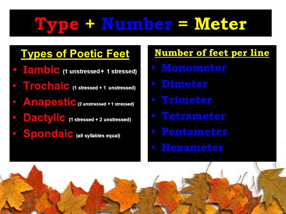 Type + Number = Meter Types of Poetic Feet I ambic (1 unstressed + 1 stressed) Trochaic (1 stressed + 1 unstressed) Anapestic (2 unstressed + 1 stressed) Dactylic (1 stressed + 2 unstressed) Spondaic (all syllables equal) Number of feet per line Monometer Dimeter Trimeter Tetrameter Pentameter Hexameter