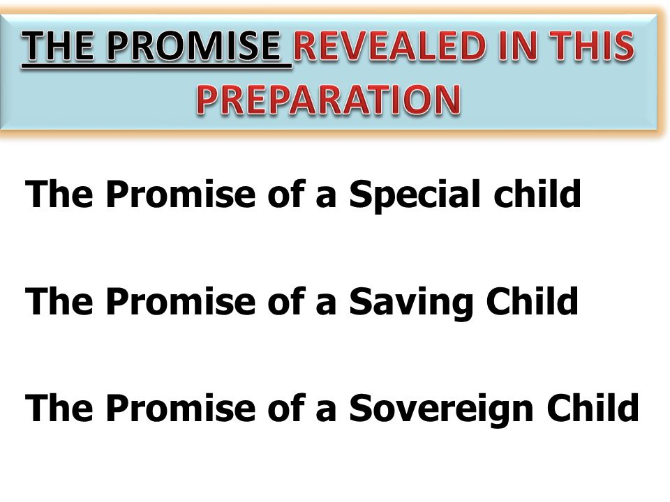 The Promise of a Special child The Promise of a Saving Child The Promise of a Sovereign Child
