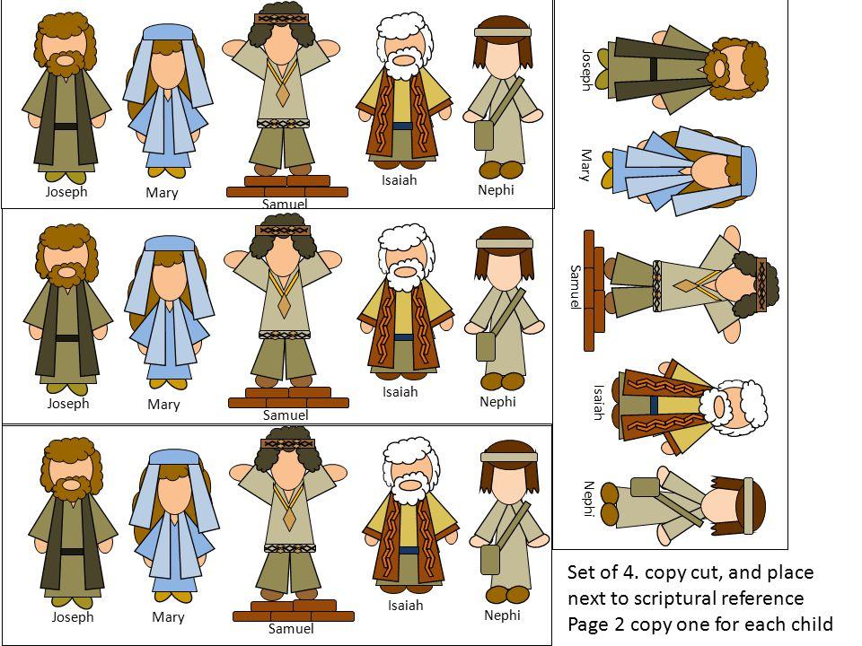 Joseph Mary Samuel Isaiah Nephi Joseph Mary Samuel Isaiah Nephi Joseph Mary Samuel Isaiah Nephi Joseph Mary Samuel Isaiah Nephi Set of 4. copy cut, an