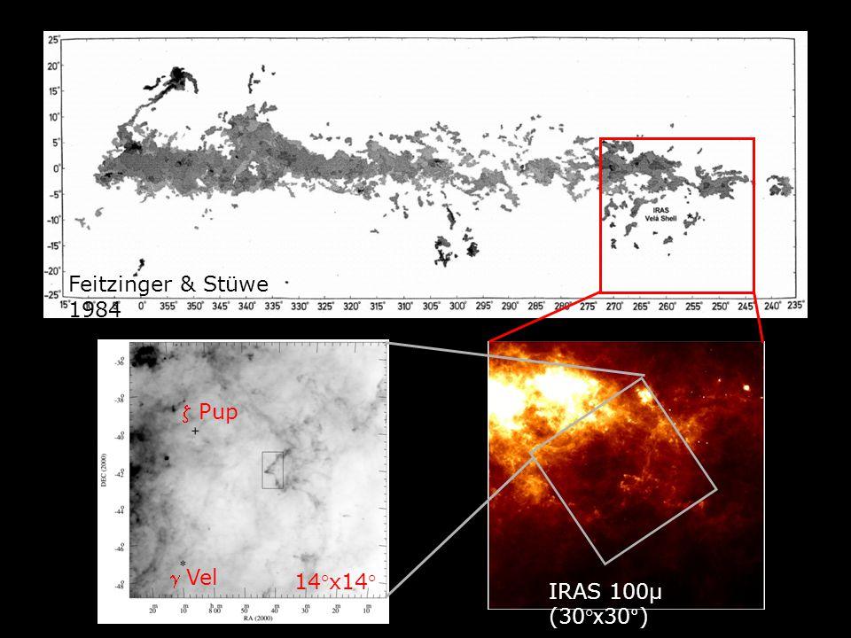 IRAS 100µ (30° x 30°)  Pup  Vel Feitzinger & Stüwe 1984 Fig. 1 14°x14°
