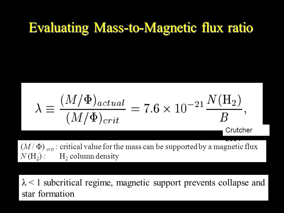 Evaluating Mass-to-Magnetic flux ratio (M / Φ) crit : critical value for the mass can be supported by a magnetic flux N (H 2 ) : H 2 column density Crutcher 2004 λ < 1 subcritical regime, magnetic support prevents collapse and star formation