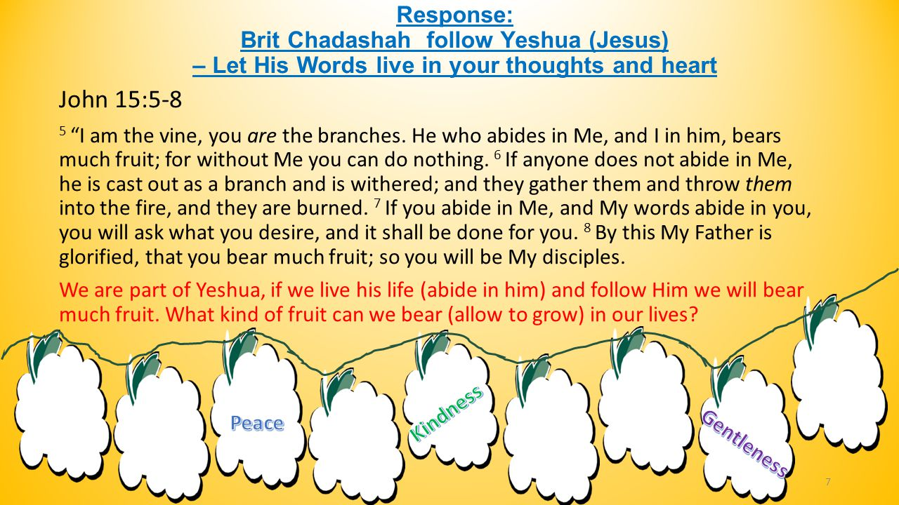 "Response: Brit Chadashah follow Yeshua (Jesus) – Let His Words live in your thoughts and heart John 15:5-8 5 ""I am the vine, you are the branches. He"