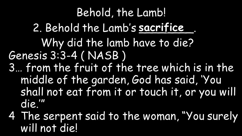 Behold, the Lamb. 2. Behold the Lamb's ________.