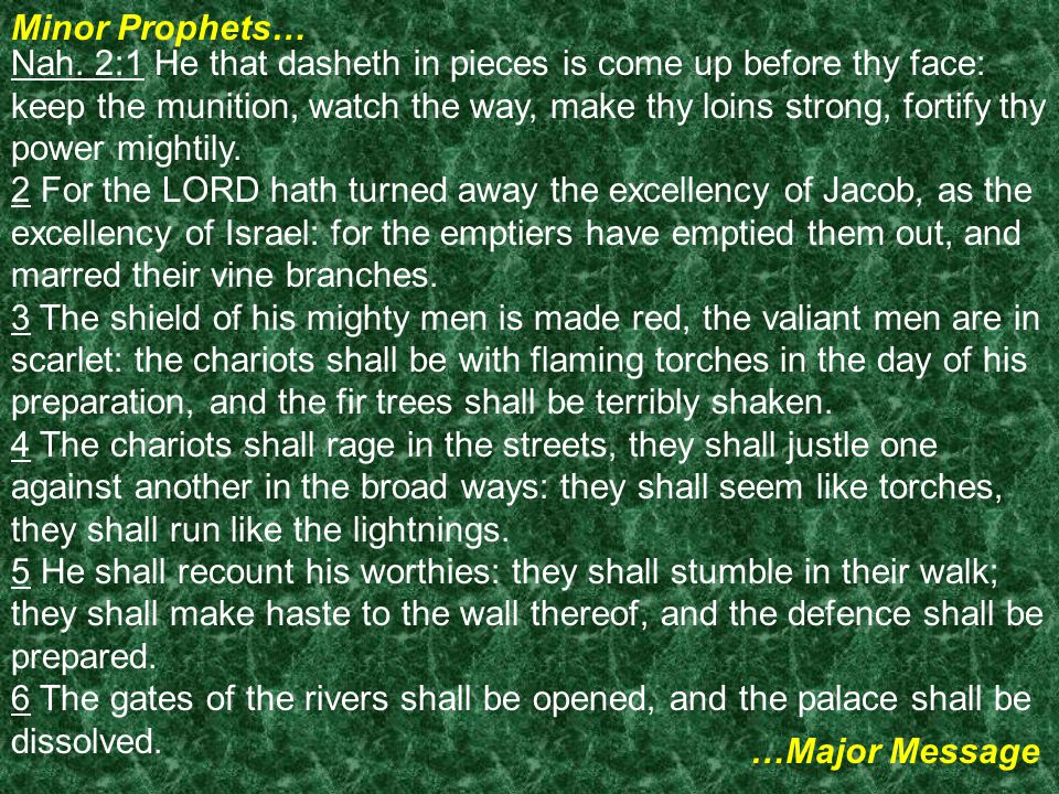 Minor Prophets… …Major Message Nah.