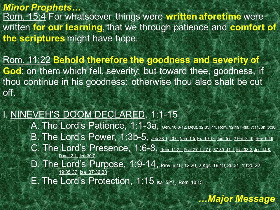 Minor Prophets… …Major Message Rom.