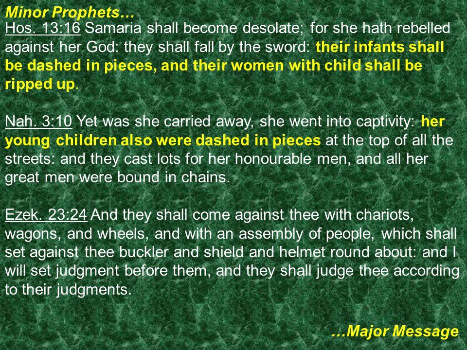 Minor Prophets… …Major Message Hos.