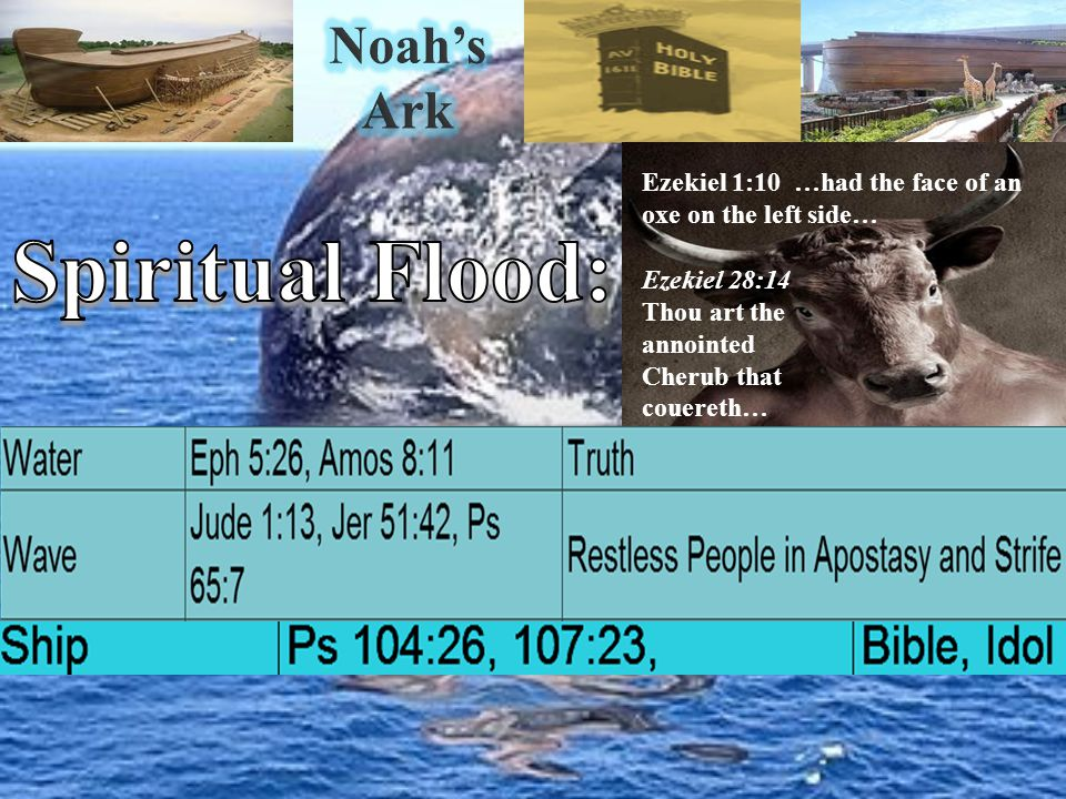 Ezekiel 1:10 …had the face of an oxe on the left side… Ezekiel 28:14 Thou art the annointed Cherub that couereth…