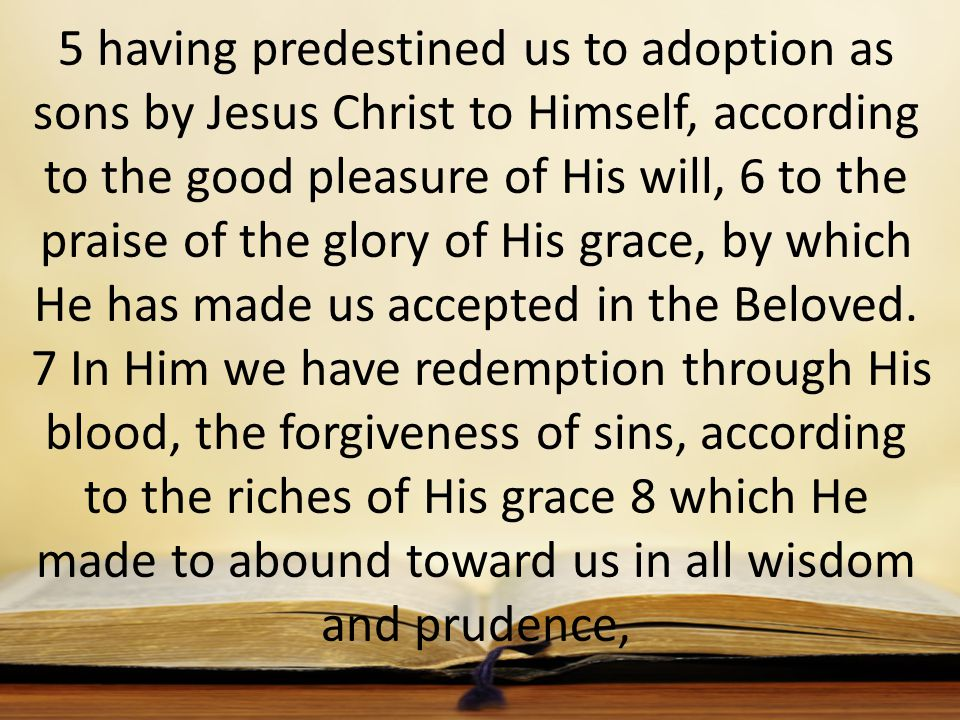 5 having predestined us to adoption as sons by Jesus Christ to Himself, according to the good pleasure of His will, 6 to the praise of the glory of His grace, by which He has made us accepted in the Beloved.