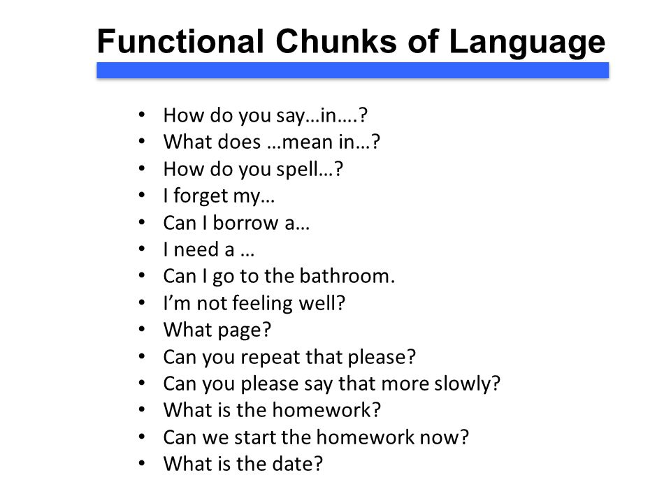 Functional Chunks of Language How do you say…in…..