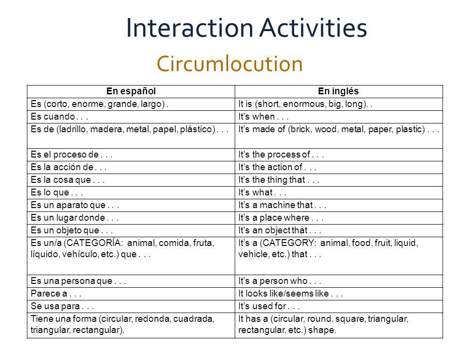 Active Communication in the Global Classroom Circumlocution Interaction Activities En españolEn inglés Es (corto, enorme, grande, largo).It is (short, enormous, big, long)..