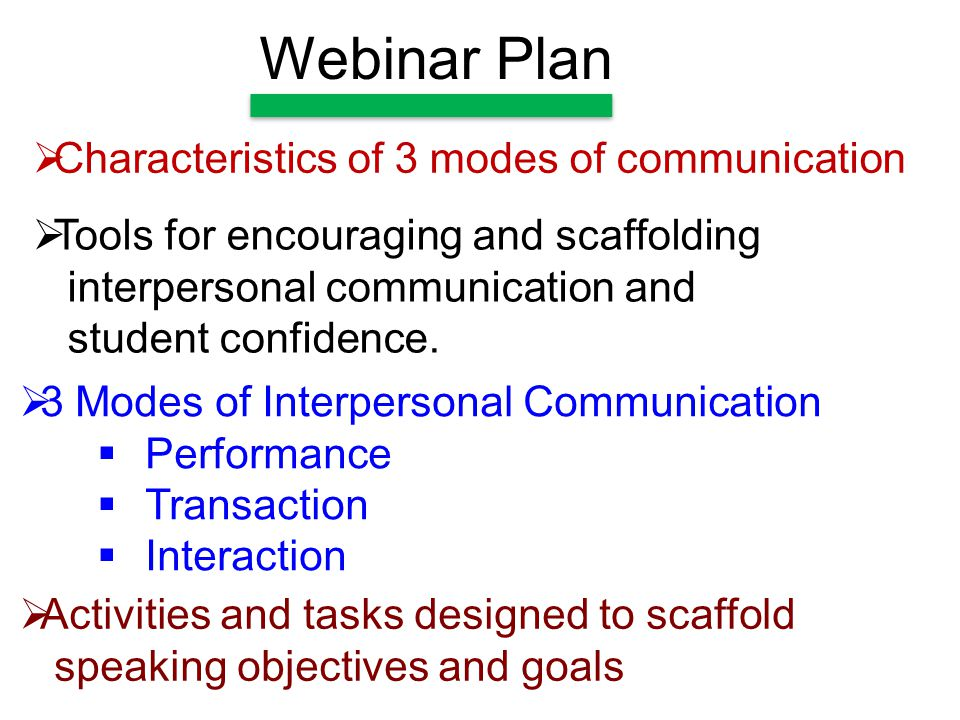 Webinar Plan  Activities and tasks designed to scaffold speaking objectives and goals  3 Modes of Interpersonal Communication  Performance  Transaction  Interaction  Tools for encouraging and scaffolding interpersonal communication and student confidence.