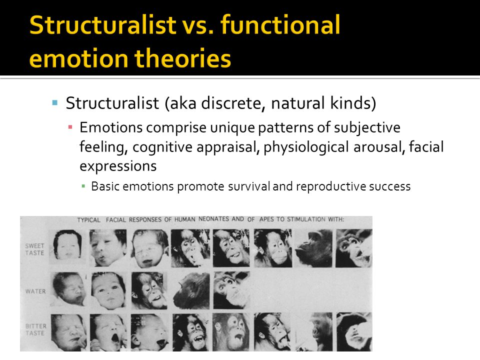  Structuralist (aka discrete, natural kinds) ▪ Emotions comprise unique patterns of subjective feeling, cognitive appraisal, physiological arousal, facial expressions ▪ Basic emotions promote survival and reproductive success