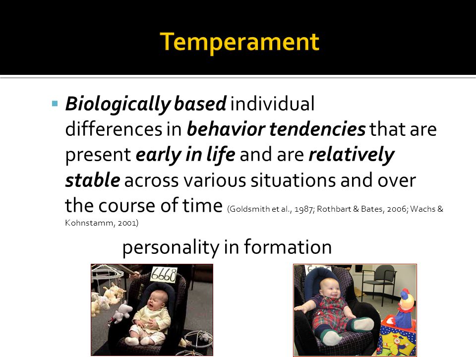 Biologically based individual differences in behavior tendencies that are present early in life and are relatively stable across various situations and over the course of time (Goldsmith et al., 1987; Rothbart & Bates, 2006; Wachs & Kohnstamm, 2001) personality in formation