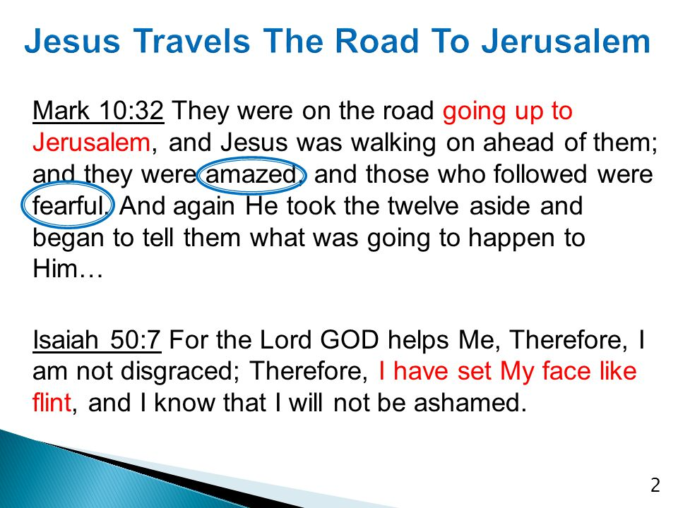 Mark 10:32 They were on the road going up to Jerusalem, and Jesus was walking on ahead of them; and they were amazed, and those who followed were fear