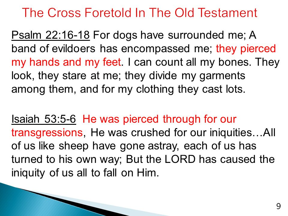 Psalm 22:16-18 For dogs have surrounded me; A band of evildoers has encompassed me; they pierced my hands and my feet. I can count all my bones. They