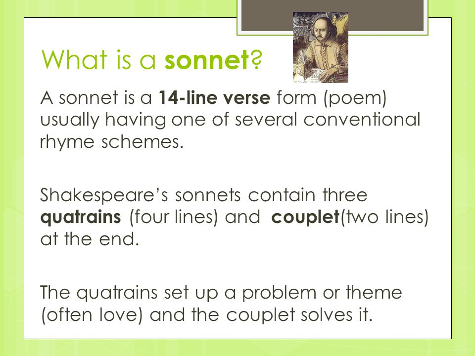 What is a sonnet .