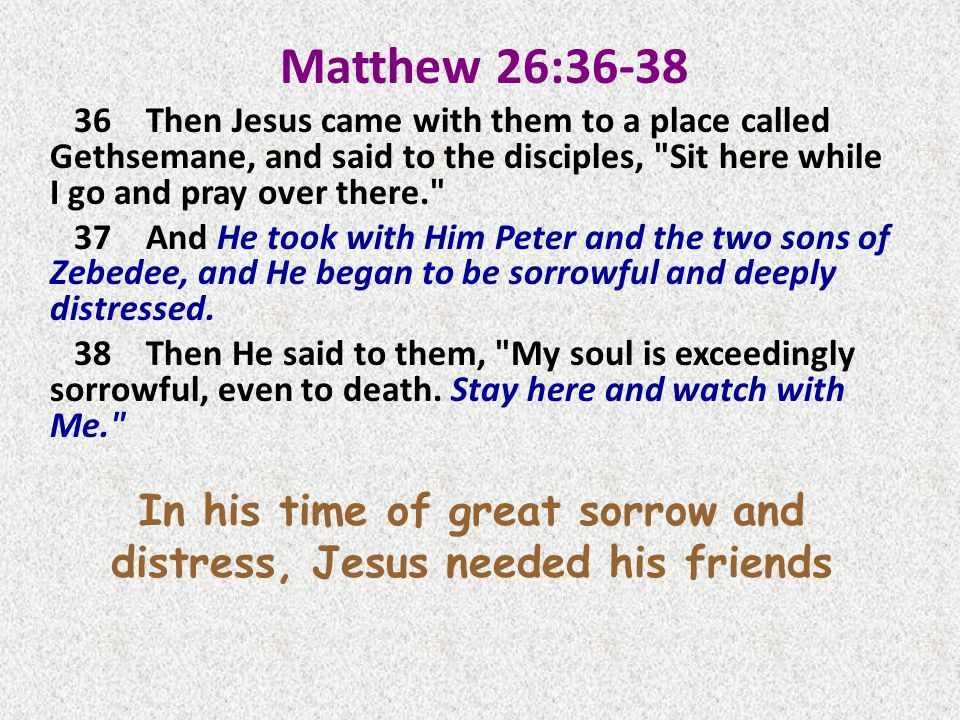 Matthew 26:36-38 36Then Jesus came with them to a place called Gethsemane, and said to the disciples, Sit here while I go and pray over there. 37And He took with Him Peter and the two sons of Zebedee, and He began to be sorrowful and deeply distressed.