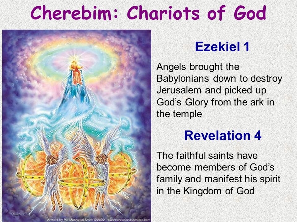 Cherebim: Chariots of God ? Ezekiel 1 Angels brought the Babylonians down to destroy Jerusalem and picked up God's Glory from the ark in the temple Re
