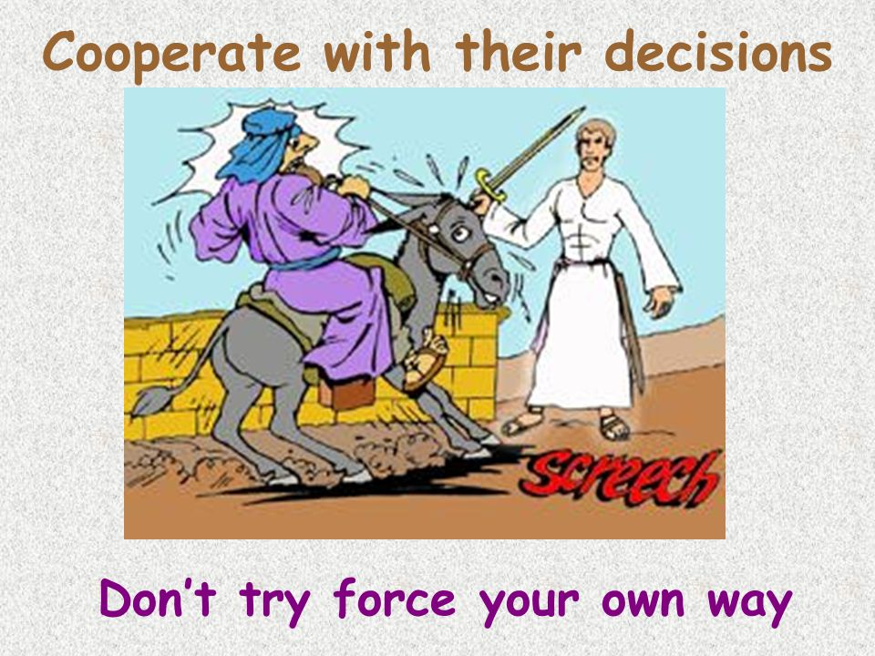 Cooperate with their decisions Don't try force your own way