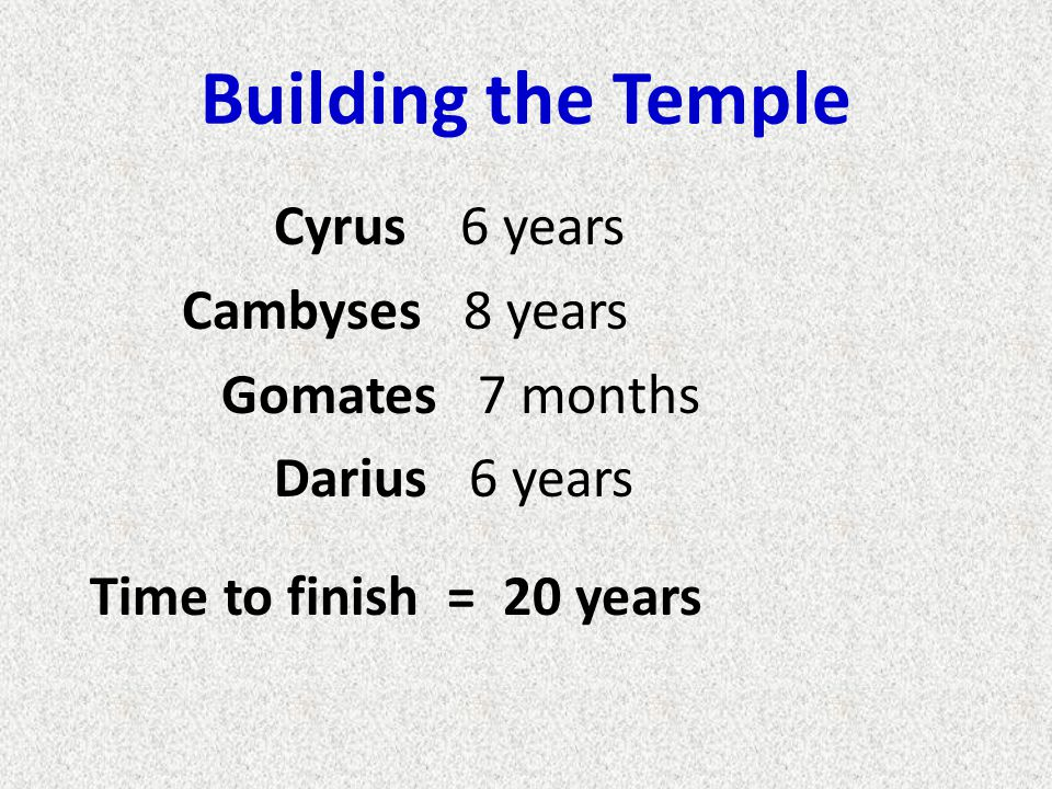 Building the Temple Cyrus 6 years Cambyses 8 years Gomates 7 months Darius 6 years Time to finish = 20 years