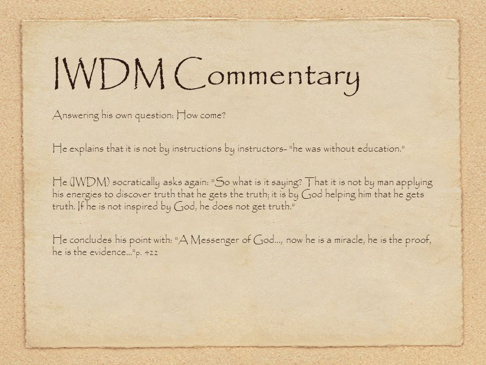 IWDM Commentary Answering his own question: How come.