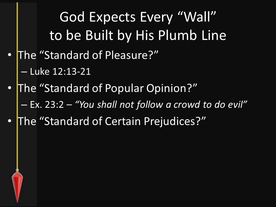 God Expects Every Wall to be Built by His Plumb Line The Standard of Pleasure – Luke 12:13-21 The Standard of Popular Opinion – Ex.