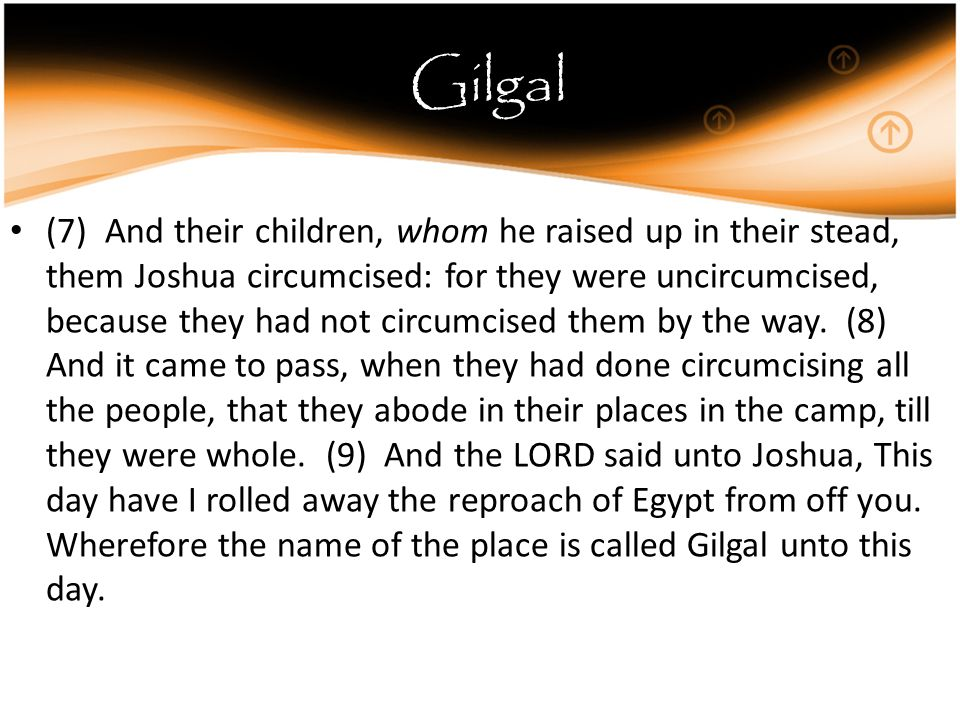Gilgal (7) And their children, whom he raised up in their stead, them Joshua circumcised: for they were uncircumcised, because they had not circumcised them by the way.
