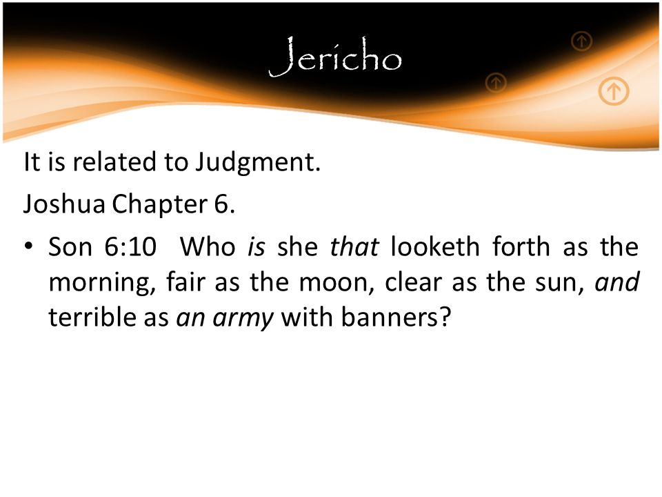 Jericho It is related to Judgment. Joshua Chapter 6.