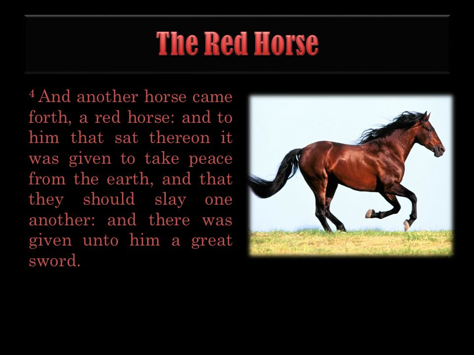 4 And another horse came forth, a red horse: and to him that sat thereon it was given to take peace from the earth, and that they should slay one anot