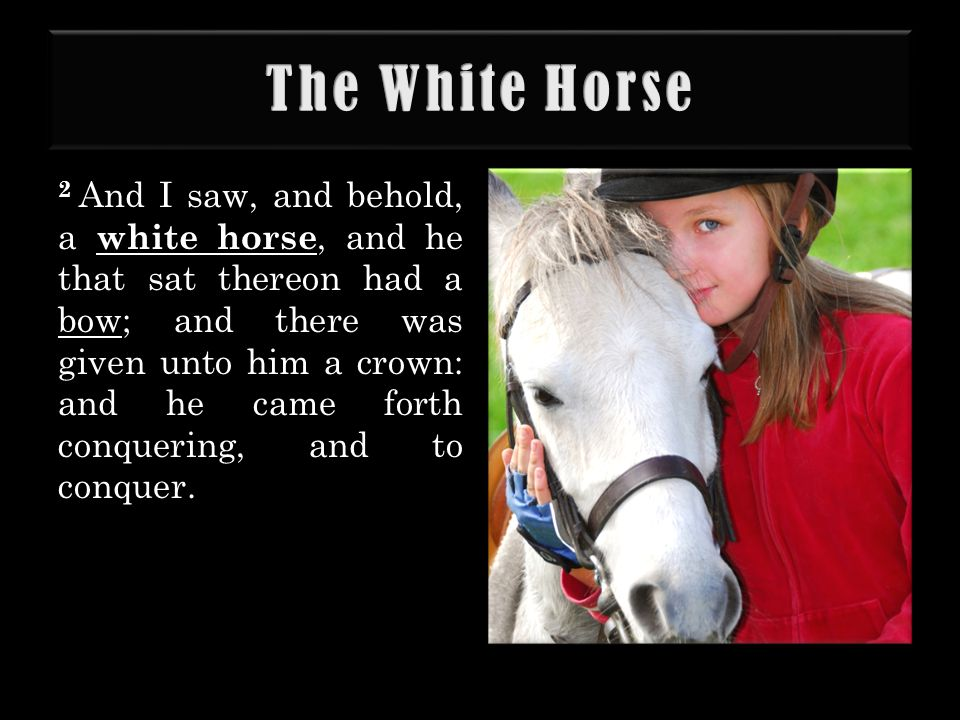 2 And I saw, and behold, a white horse, and he that sat thereon had a bow; and there was given unto him a crown: and he came forth conquering, and to conquer.