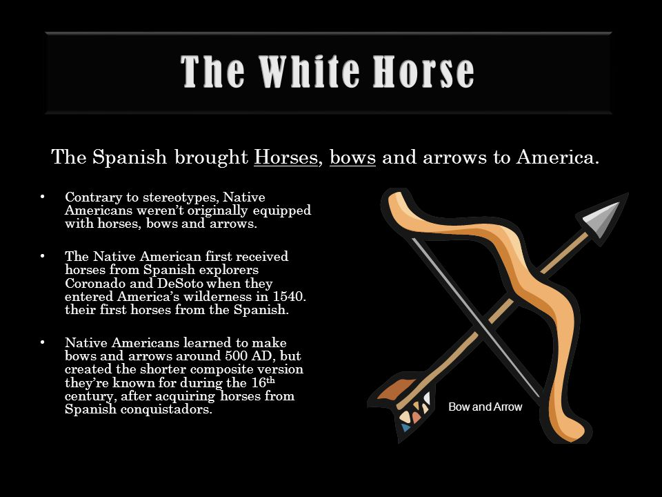 The White Horse The Spanish brought Horses, bows and arrows to America. Contrary to stereotypes, Native Americans weren't originally equipped with hor
