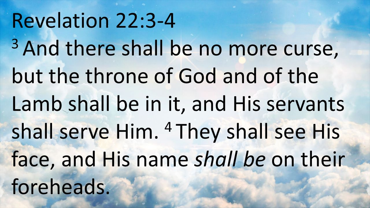 Revelation 22:3-4 3 And there shall be no more curse, but the throne of God and of the Lamb shall be in it, and His servants shall serve Him. 4 They s