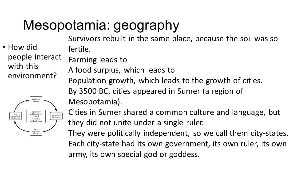 Mesopotamia: geography How did people interact with this environment.
