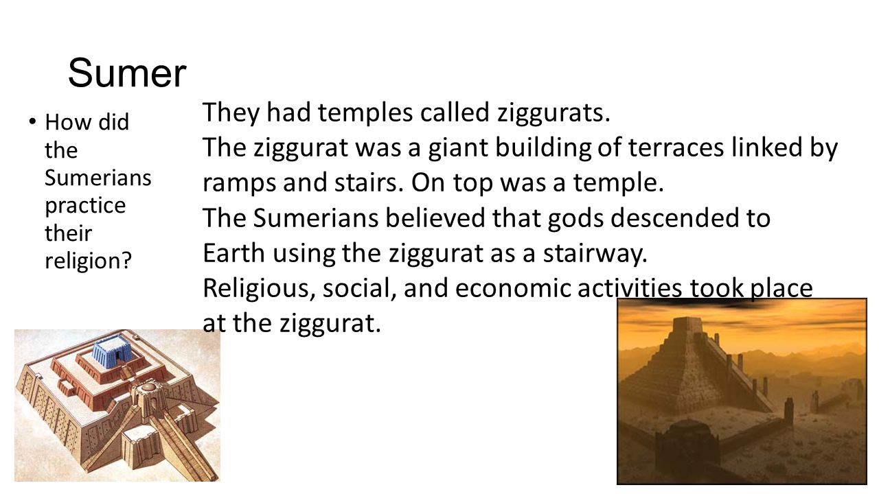 Sumer How did the Sumerians practice their religion.