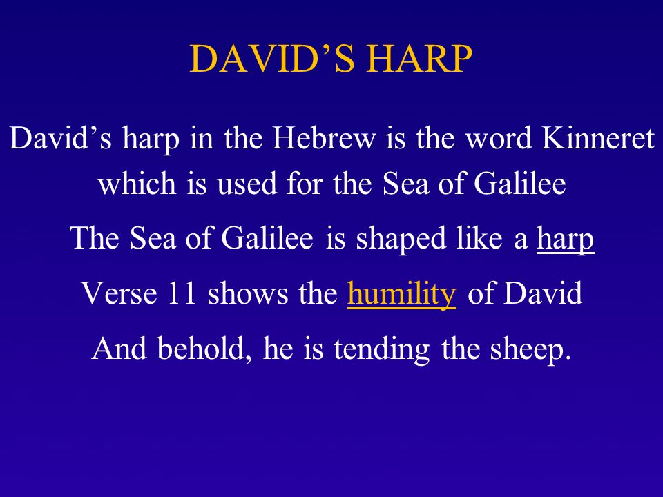 David's Harp David's harp in the Hebrew is the word Kinneret which is used for the Sea of Galilee The Sea of Galilee is shaped like a harp Verse 11 shows the humility of David And behold, he is tending the sheep.