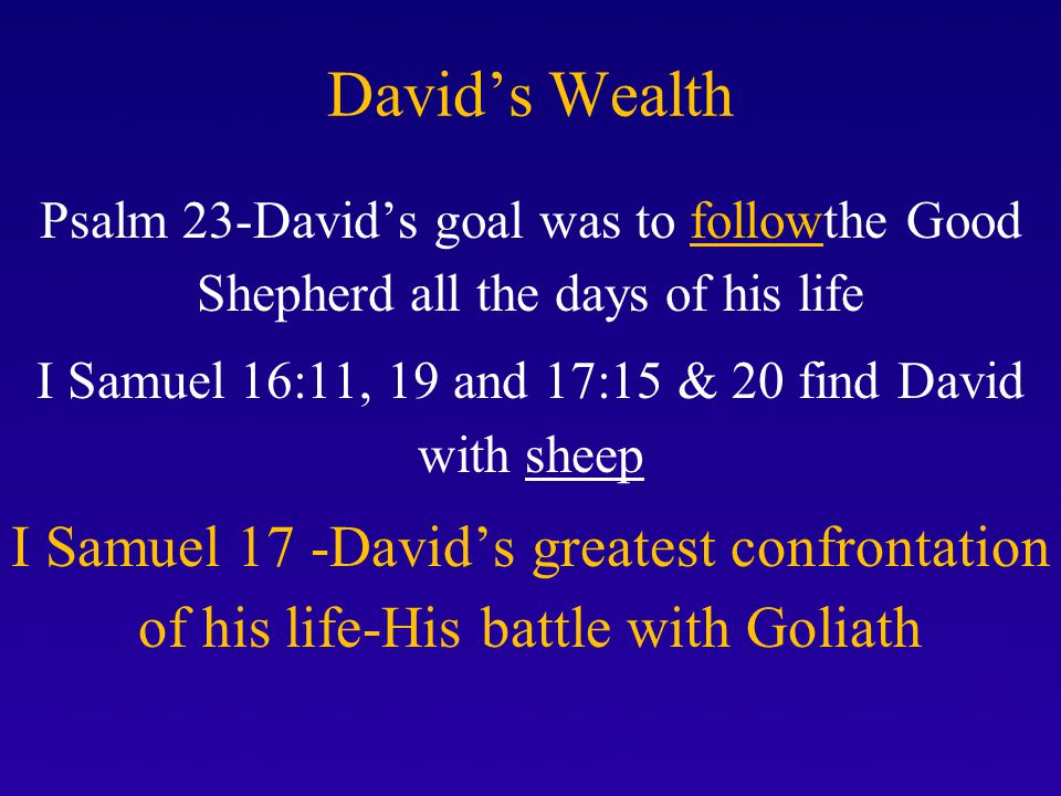 DAVID FACES GOLIATH 26 Then David spoke to the men who stood by him, saying, What shall be done for the man who kills this Philistine and takes away the reproach from Israel.