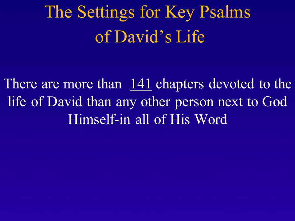 THE BIG EVENTS OF DAVID'S Life David's Loneliness *He was the youngest son of Jesse *An Armor Bearer for King Saul *As a King David was overlooked, ignored, and disliked