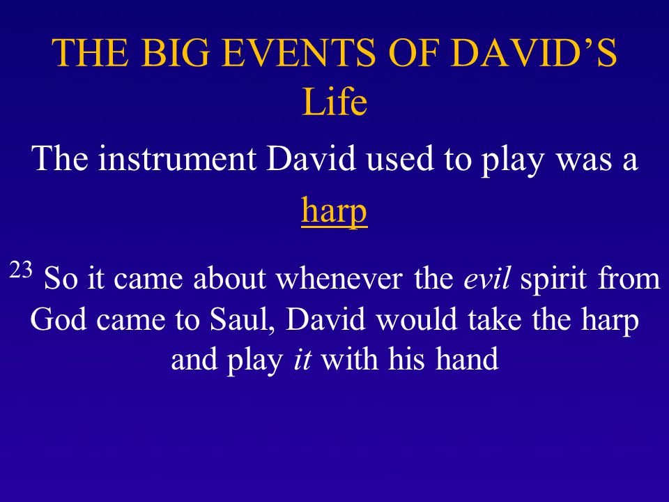 Period One of David's life were the lonely days of his youth in which he wrote 30-31 of his Psalms Psalm 8, 19, 23, 101, 132 *David was inspired after the Spirit of the Lord came upon him in I Samuel 16:13 to write the Spirit prompted lessons of his life we now have in the book of Psalms