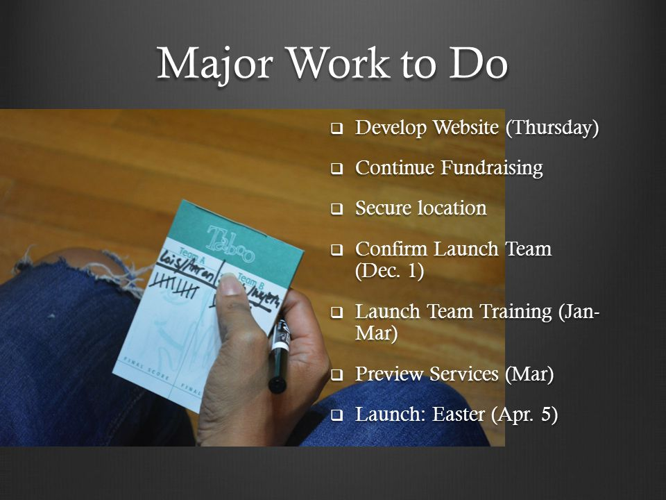 Major Work to Do  Develop Website (Thursday)  Continue Fundraising  Secure location  Confirm Launch Team (Dec.
